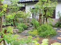 築山のまわりを回遊できる雑木の庭